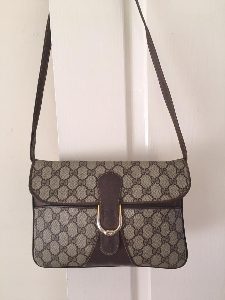 Genuine Gucci Vintage 1970's Brown Accessory Collection Bag