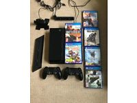 SONY PLAYSTATION 4 PS4 500GB JET BLACK CONSOLE + 2 x CONTROLLERS + CAMERA + CHARGER + 6 GAMES