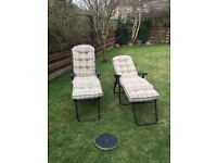 2 Reclining Garden Chairs with padded seating and protective covers