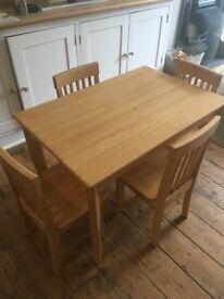 Children's table and four chairs