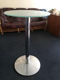4 smoked round glass top chrome base bar tables