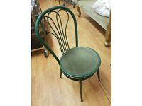 Green Metal Chairs with Padded Seating