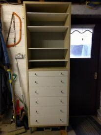 Shelving/drawer unit, coffee table and metal bed head board for sale