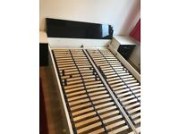 High gloss black and white double bed frame and 2 sets of side drawers