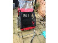 Bike trailer, suitable for two children.