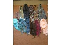 Huge bundle 14 scarf mix of woolly and lightweight shawl scarves