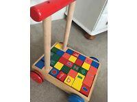 Wooden walker with blocks