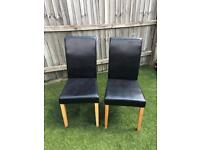 Faux leather dining chairs (2)