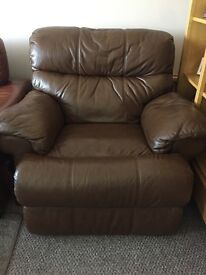 Leather Armchair - Brown Reclining
