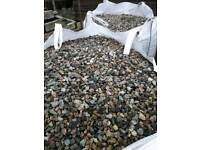 Tonne bags of coloured stones