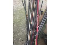 Range of different fishing poles and rods