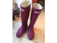 Hunter Wellington Boots PINK Original Tall Womens Rubber Rain Wellies Uk Size 5 - USED