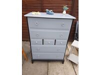 Vintage Stag Tall 7 Drawers Chest Sideboard Shabby Chic Painted Farrow & Ball