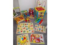 LARGE WOODEN TOY BUNDLE ACTVITY CUBE PUZZLES ECT