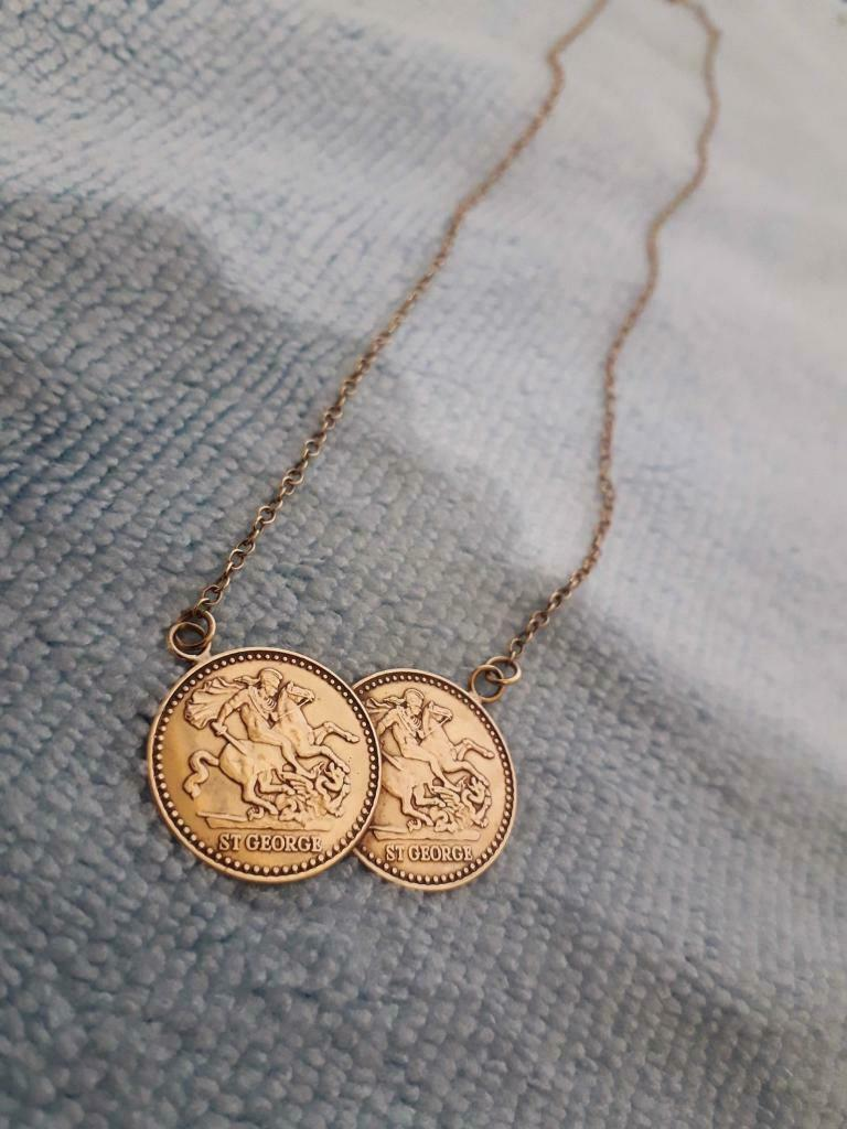 e94bee4ebee89 9ct Gold St George Double Coin Necklace   in Partick, Glasgow   Gumtree