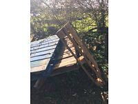 Three wooden pallets
