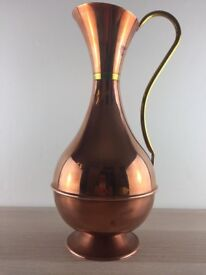6 X Vintage Rose Copper & Brass Jugs / Pitcher / Vase / Ewers