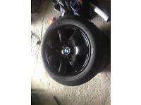 "Bmw wheels 16"" alloys black tyres"