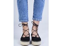 Job lot of ladies/girls black lace up espadrilles by Coco Perla Paris