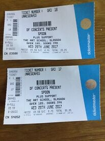 Two tickets for Spoon gig, Glasgow 28th June