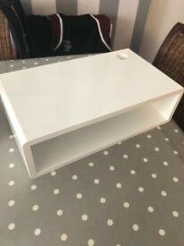 White gloss floating shelf. For Xbox and media