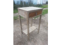 Upcycled, shabby chic, oak hall table with drawer.