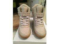 Dorothy Perkins Nude wedge high top trainers size 5 in box