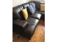 Large real leather corner sofa