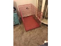 Pink large dog crate
