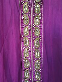 Purple anarkali traditional Indian suit