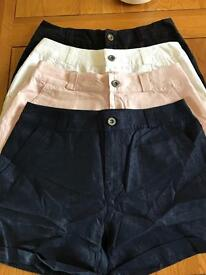 4 pairs of linen shorts