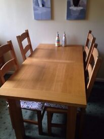 Extending dining table and 4 ladder back chairs - SOLID OAK