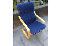 Ikea chair with blue cover , in good condition. Feel free to view