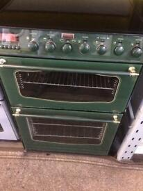 Green stoves 60cm ceramic hub electric cooker grill & double ovens good condition with guarantee