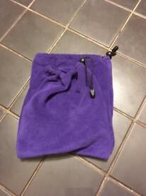 Purple fleece stirrup bags