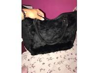Black fur handbag