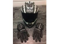 ISX HX276 Helmet & Buffalo Leather Knuckle Gloves - Motocross Mx Helmet