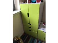 IKEA Stuva children's storage units - drawers and bench chest - white and green