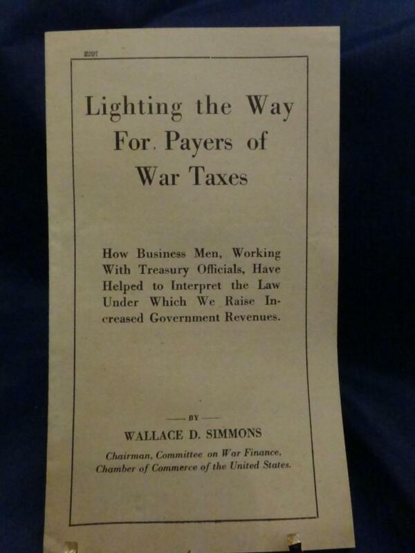 """WWI Simmons Service War Bulletin """"Lighting the Way For Payers of War Taxes"""" RARE"""