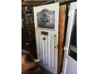Used, FRONT DOOR 1930 WITH LEADED GLASS TOP READY TO HANG W 90 C M H 208 C M D4.5 C M ££350 for sale  Aston Clinton, Buckinghamshire