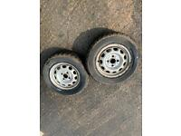 """13"""" steel wheels with mud and snow tyres"""