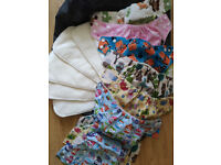 6 NEW reusable LITTLE BLOOM nappies and bamboo inserts
