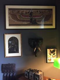 Lovely vintage & large Egyptian papyrus of a winged God
