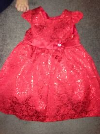 Girls red party dress aged 3