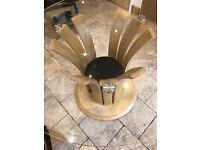Jual Curve 1200mm round oak veneer glass top table
