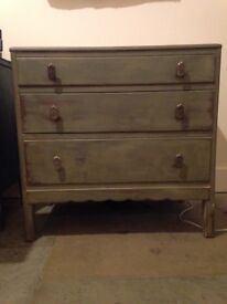 Upcycled chest of drawers with three drawers
