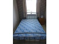 Double bed frame and mattress (hardly used)
