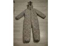 all-in-one winter suit to fit age 4-5 by Next, leopard print, great condition