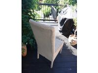 Highbacked cream rattan dining chairs (Lloyd Loom style, 8 available)