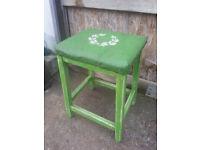 Upcycled, shabby chic, retro stool.